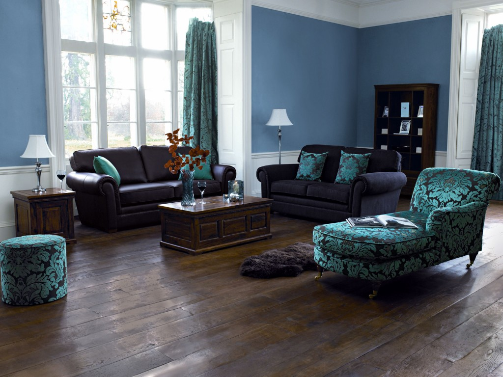 Retro-Living-Room-Blue-Wall-Paint-Color-Ideas-with-Antique-Table-Design-and-Unique-Sofa-Decorating-Also-Using-Wood-Flooring-Decoration
